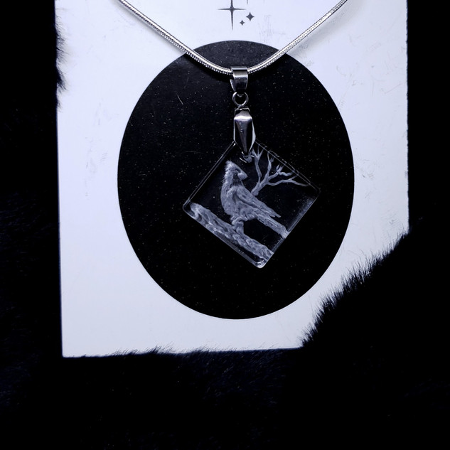 glass engraved cardinal necklace