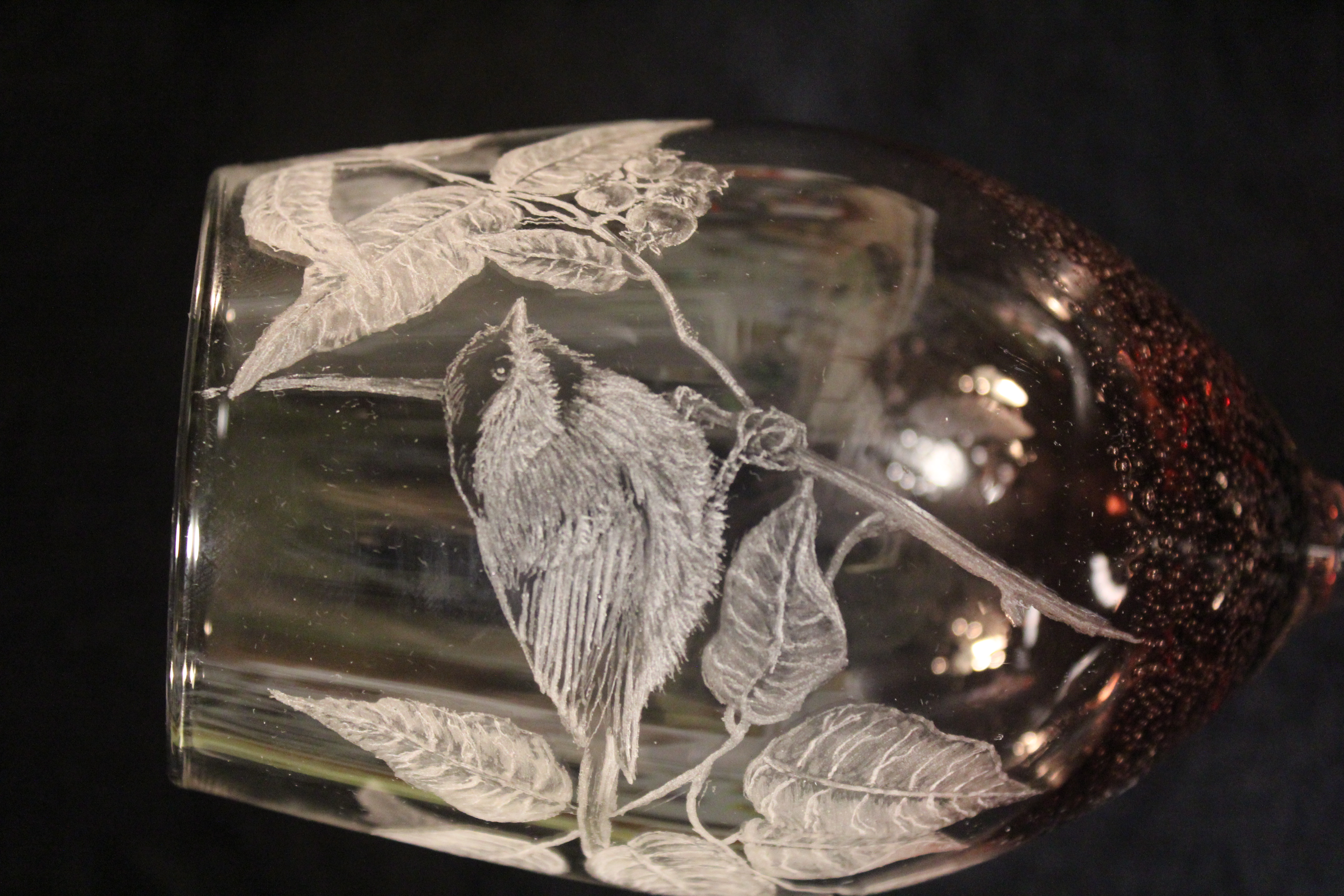 chickadee wine glass