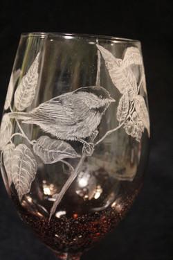 chickadee wine glass