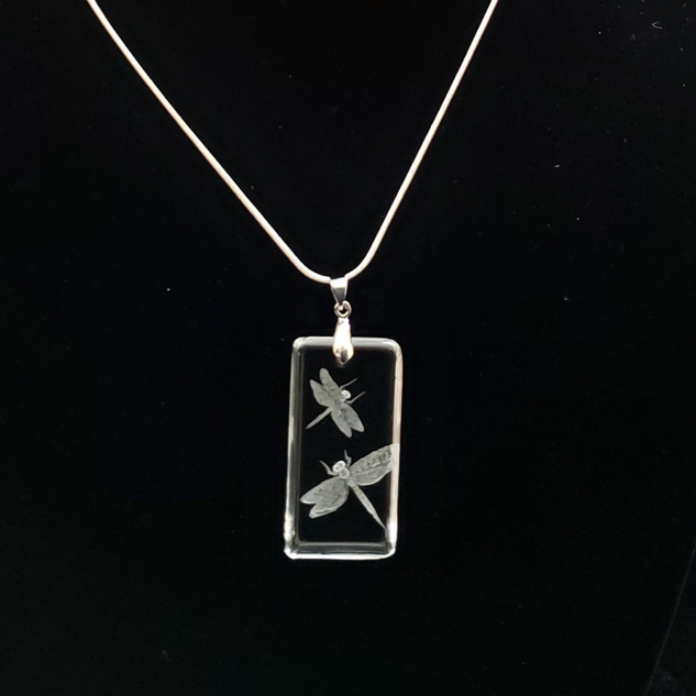 dragonfly necklace, engraved glass