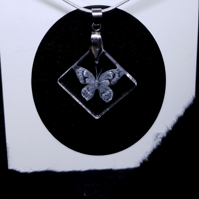 glass engraved butterfly necklace
