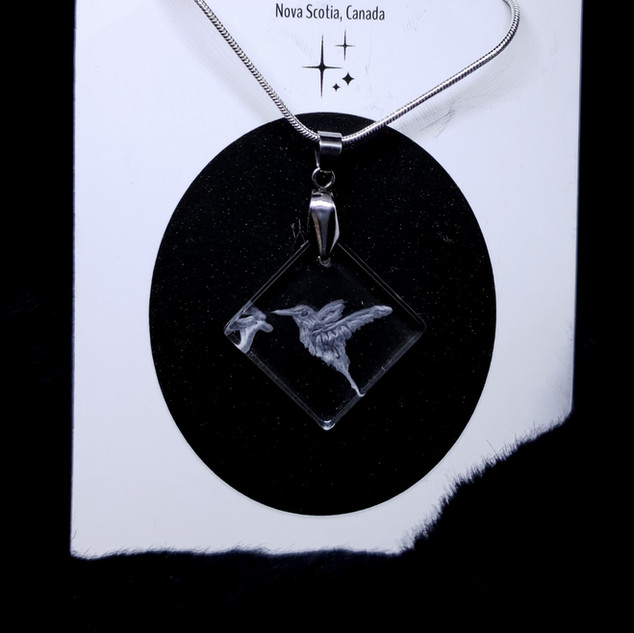 glass engraved chickadee necklace
