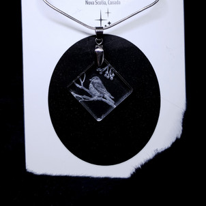 glass engraved necklace of a chickadee