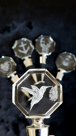crystal wine stoppers, hand engraved
