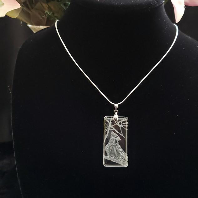 glass cardinal necklace