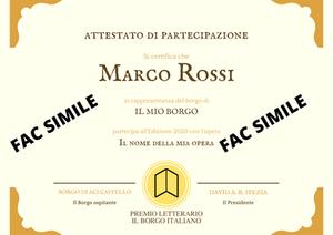 Certificato di partecipazione al Premio Letterario il Borgo Italiano