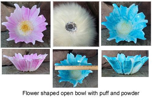 Open  Powder Dish and Wool Puff