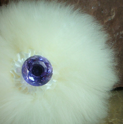 Luxury Powder Puff Faceted Handle Clear, Pink or Purple