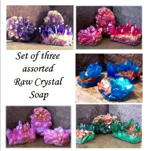 Set of 3 Raw Crystal Geode Soaps Assorted