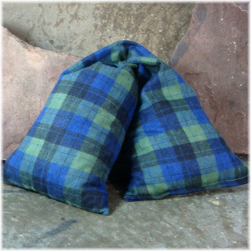 Green Blue & GrayPlaid Soft Flannel Microwave Heat Wrap