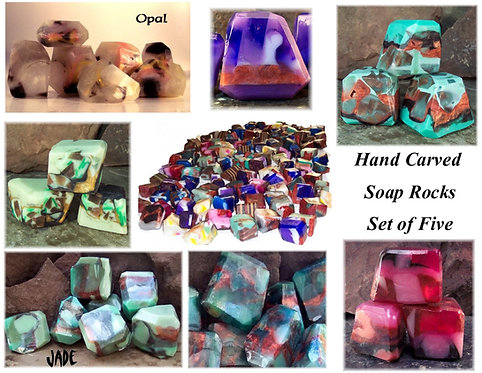 Set of 5 Soap Rock Treasury - Crystal and Carved