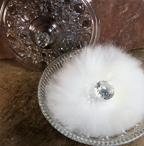 Vanity Powder Box, Clear Pressed Glass with Puff and Powder