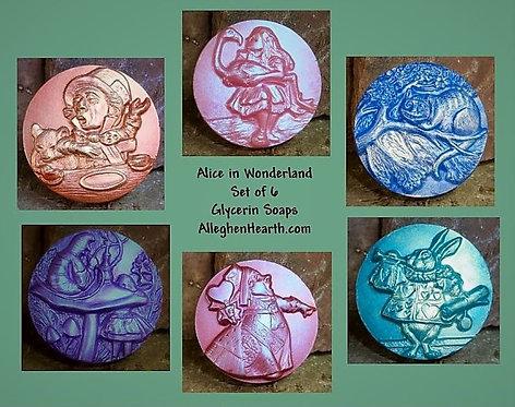 Alice in Wonderland Soaps, Set of 6 assorted glycerin soaps