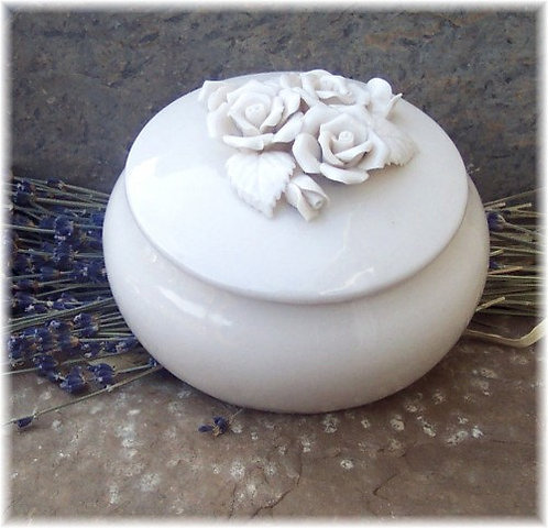 Ceramic Powder Box with Handmade Powder & Puff