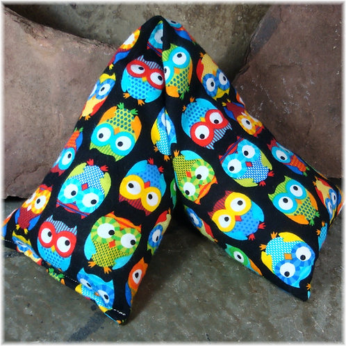 Colorful Owls Flannel Microwave Heat Pad