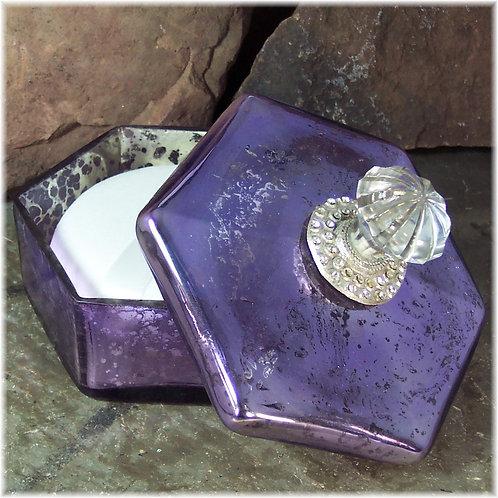 Purple Powder Dish Set with Puff and Powder