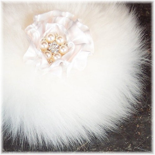 Handmade Powder Puff with Pearl Button Handle