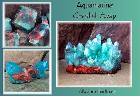 Aquamarine Gemstone Crystal Soap Rocks - Choice of Style - One Bar