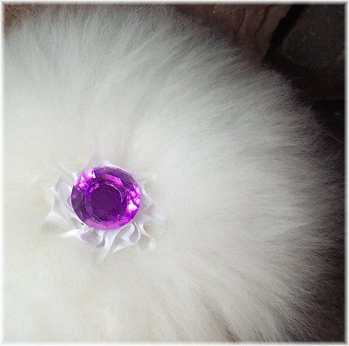 Opulent  Merino Wool Powder Puff Pink Faceted Handle