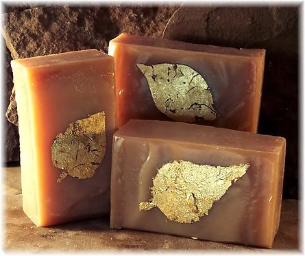Sandalwood Amber Handmade Soap Gold Leaf