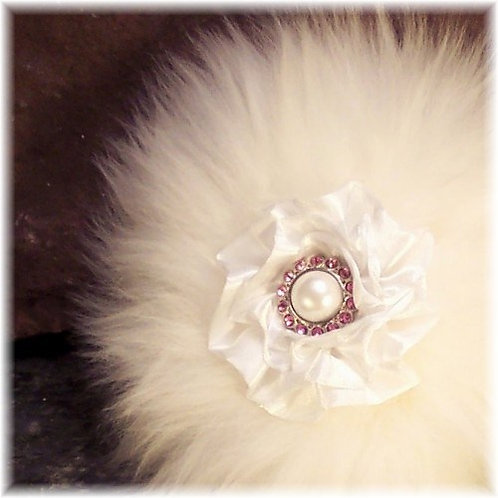 Sheepskin Powder Puff with Pink Crystal Button