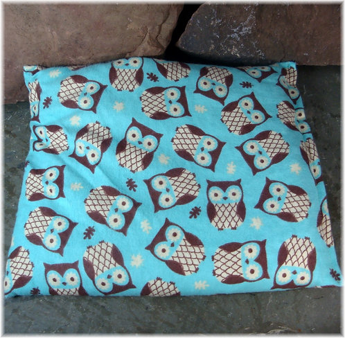 Cherry Stone Heat Pack Blue Owl Flannel