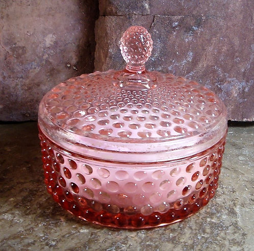 Vintage Glass Powder Box, Pink or Clear with handmade powder and puff