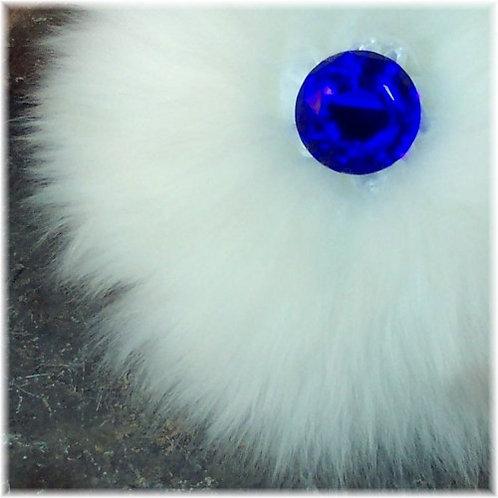Luxury Wool Powder Puff Cobalt Blue Glass Handle