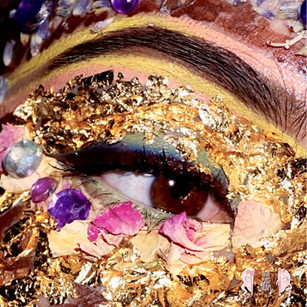 Gold leaf and flowers Creative Makeup
