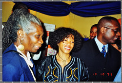 14 L to R - Jessica Huntley, Margaret Busby _ Kwesi Owusu (at his book launch), HMS President, Victo