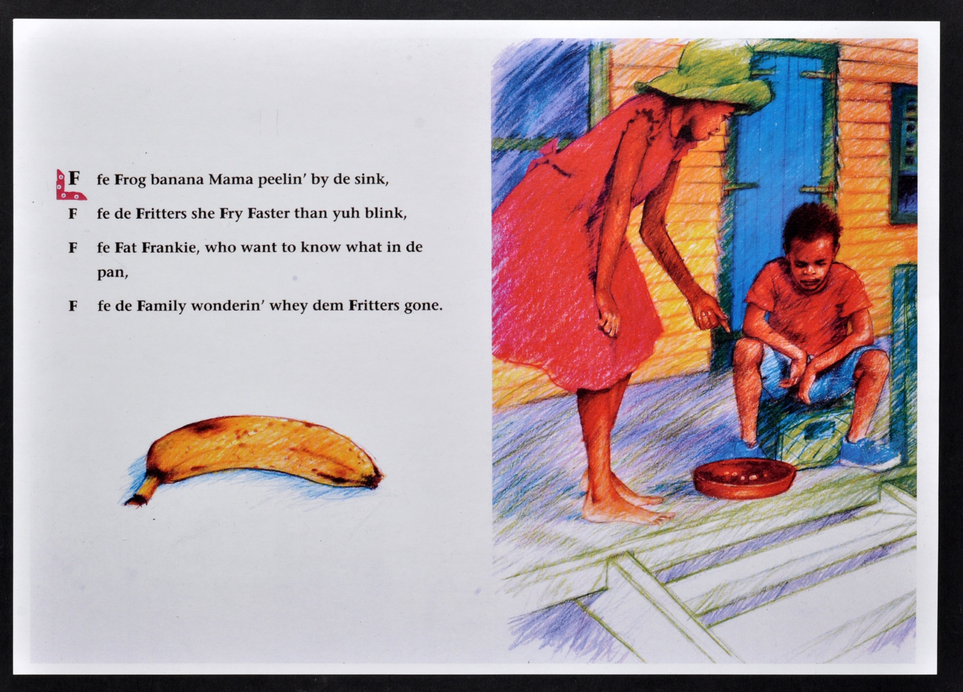 _08 Ackee, Breadfruit, Callaloo-Valerie Bloom (page spread illustrations Kim Hartley). Huntley Archi