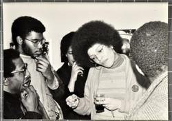 _08 Angela Davis (talking with audience members). Huntley Archives at London Metropolitan Archives
