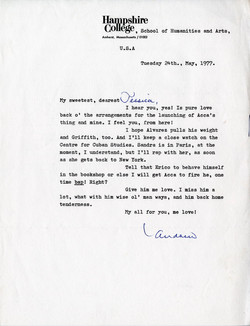 _05 Letter from Andrew Salkey to Jessica Huntley, 24th May 1977. Huntley Archives at London Metropol
