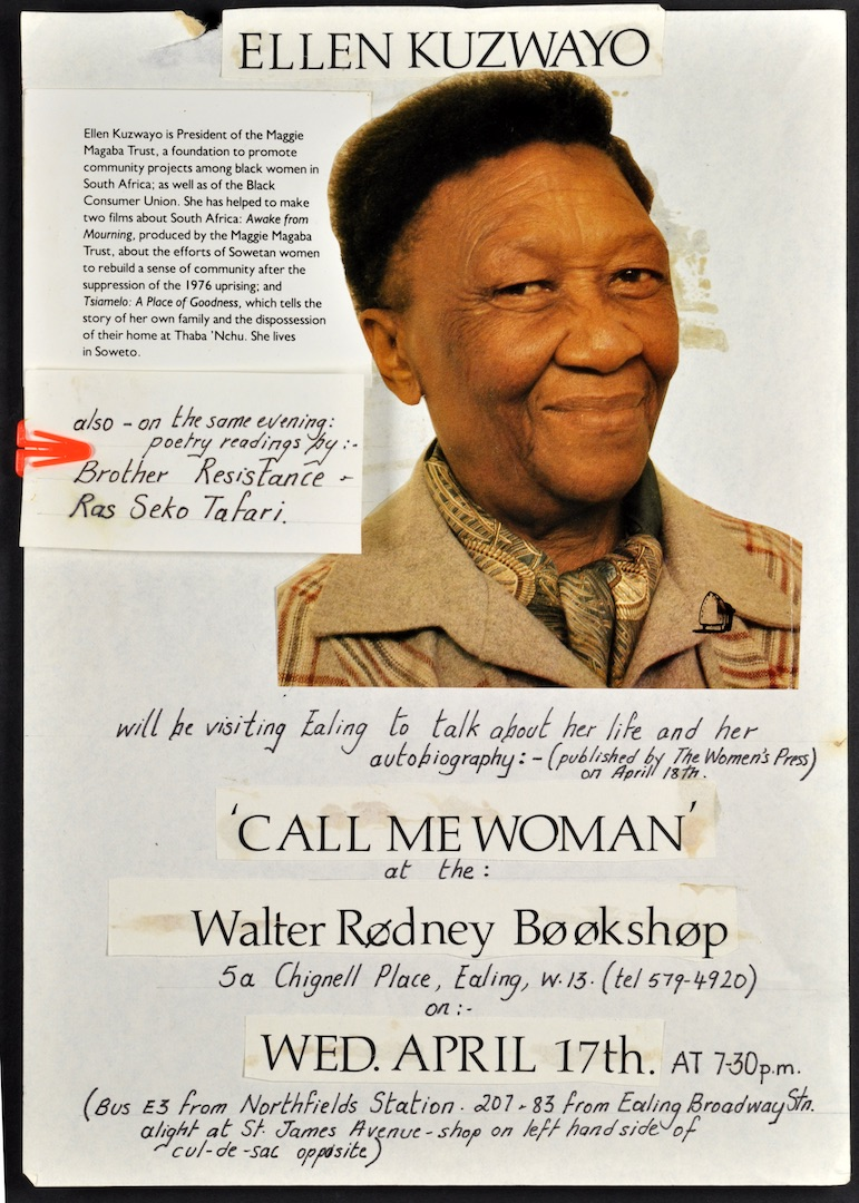 02 'Call Me Woman' - Ellen Kuzwayo (leaflet artwork). 17th April c1980s. Huntley Archives at London