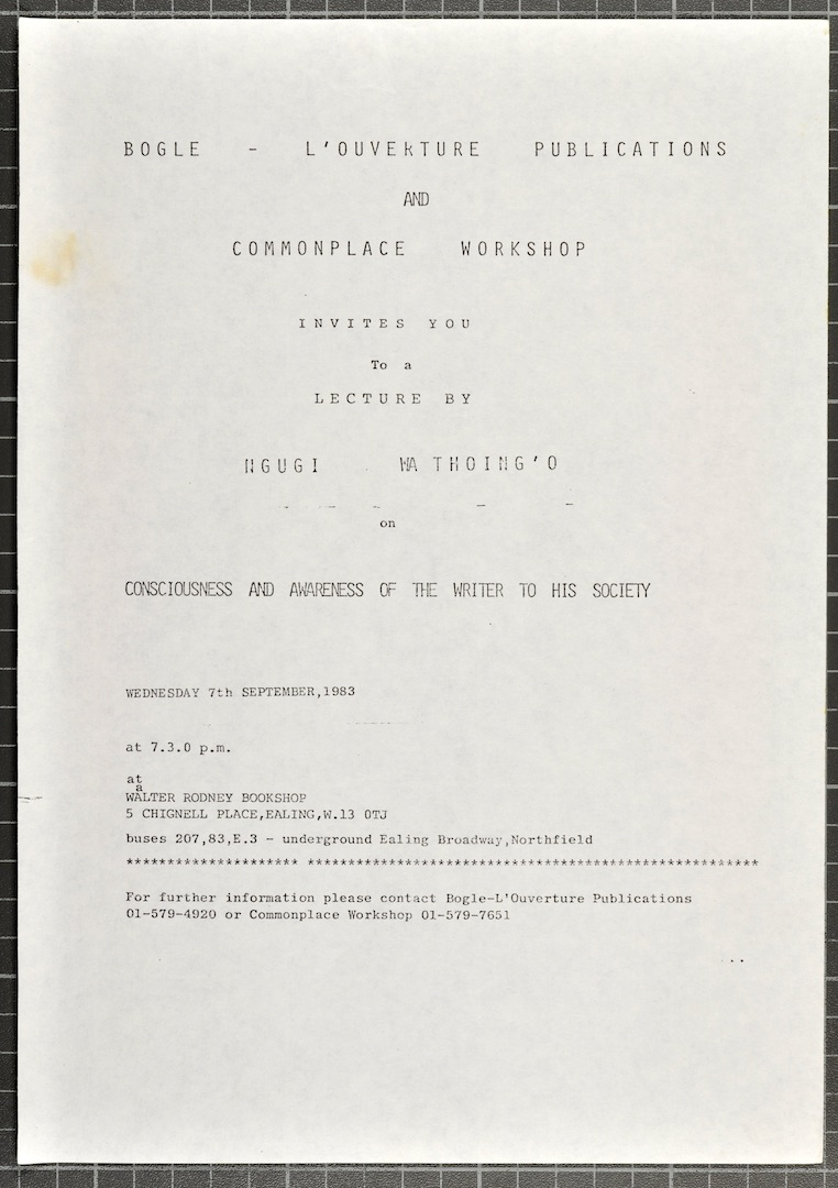 02_Ngugi_wa_Thiongó_Lecture_(leaflet)._7th_Sept._1983._Huntley_Archives_at_London_Metropolitan_Archi