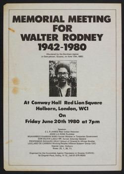 _20 Memorial Meeting for Walter Rodney. Conway Hall, Red Lion Square, London. 20th July 1980.  Huntl