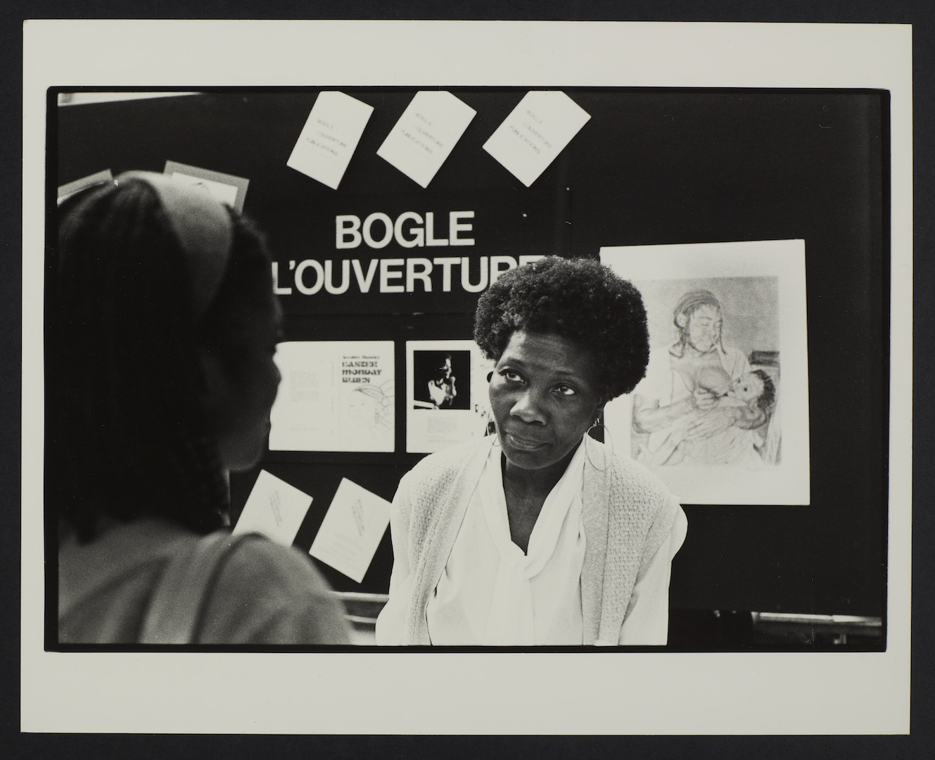 04 Jessica Huntley at Bogle-L'Ouverture Publications bookstall. c1980s. Huntley Archives at London M