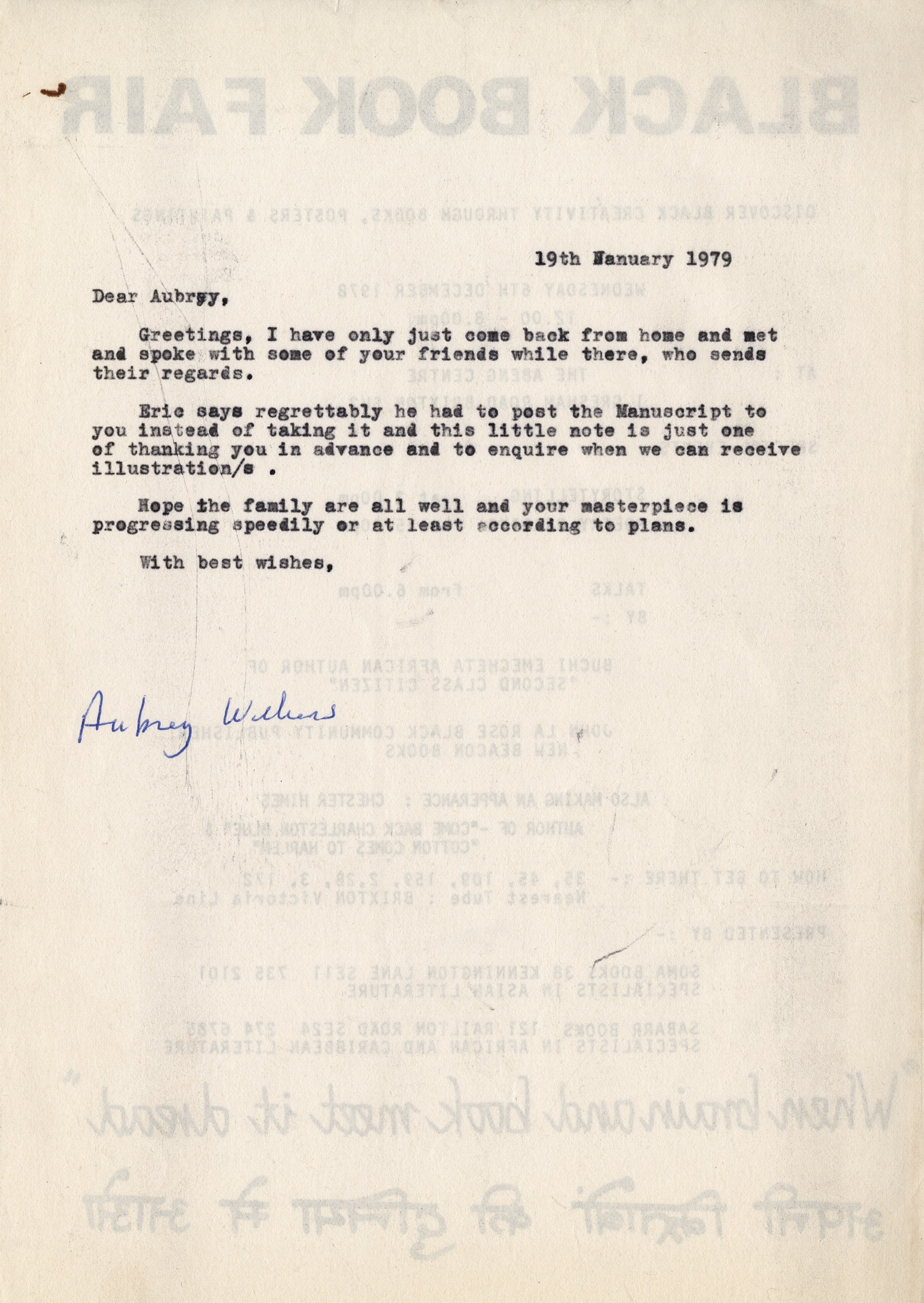 _07 Letter to Aubrey Williams. 19th Jan. 1979. Huntley Archives at London Metropolitan Archives-Arch