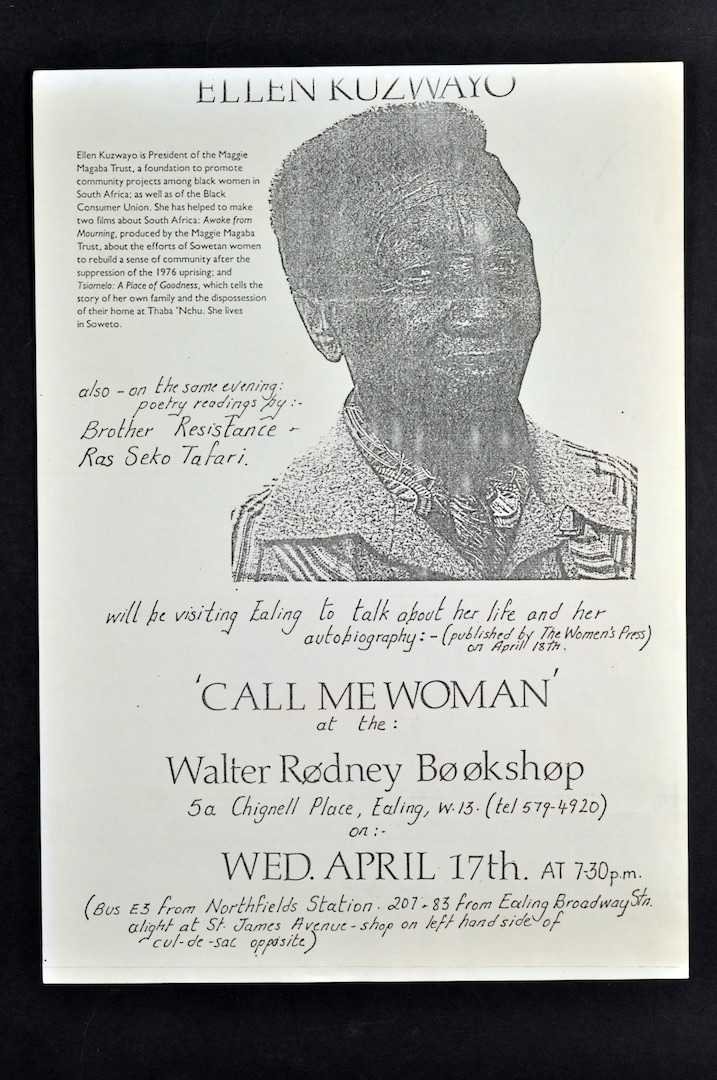 03 'Call Me Woman' - Ellen Kuzwayo (leaflet ).17th April c1980s. Huntley Archives at London Metropol
