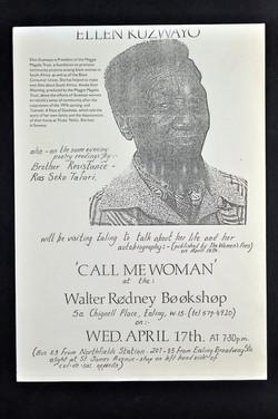 03 'Call Me Woman' - Ellen Kuzwayo (leaflet ).17th April c1980s. Huntley Archives at London Metropol