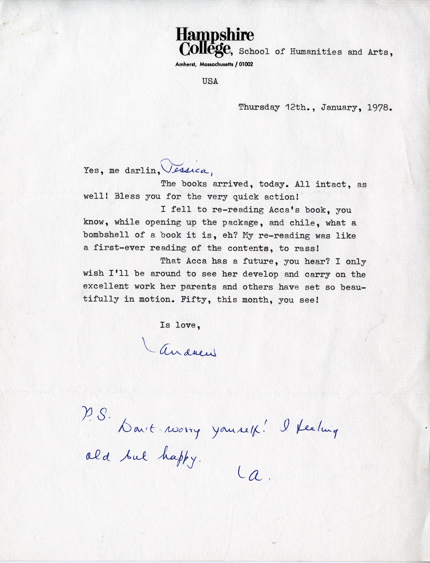_06 Letter from Andrew Salkey to Jessica Huntley, 12th Jan. 1978. Huntley Archives at London Metropo