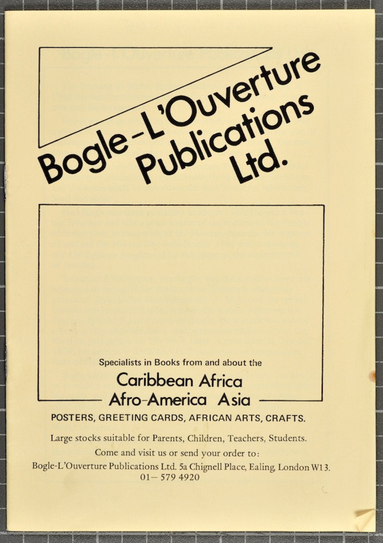 01 Bogle-L'Ouverture Publications (catalogue). c1970s. Huntley Archives at London Metropolitan Archi