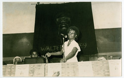 _22 Jessica Huntley at Walter Rodney Memorial Meeting. 20th July 1980. Huntley Archives at London Me