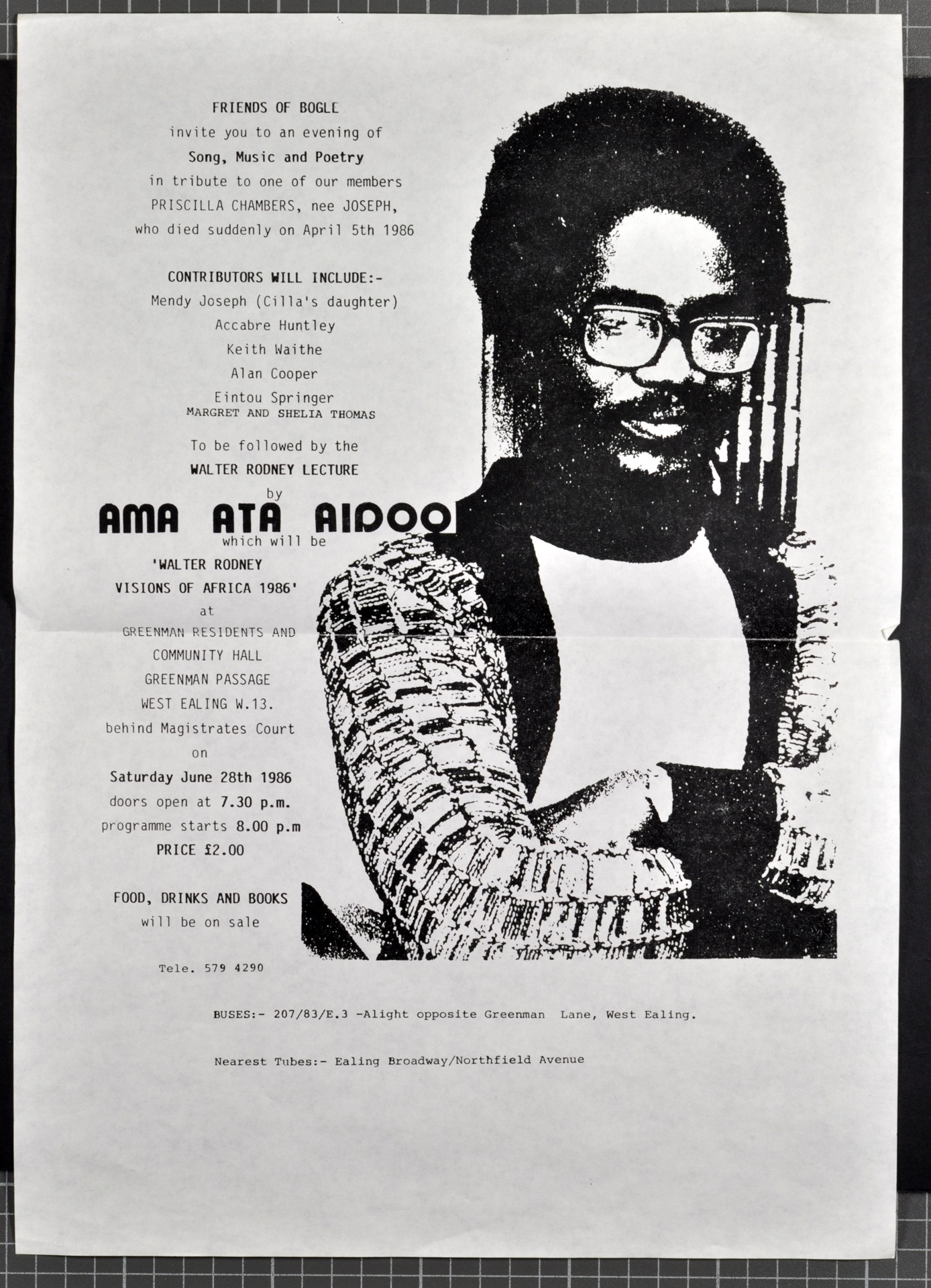 _27 Friends of Bogle-Tribute to Priscelle Chambers _ Walter Rodney Lecture (Ama Ata Aidoo). 28th Jun