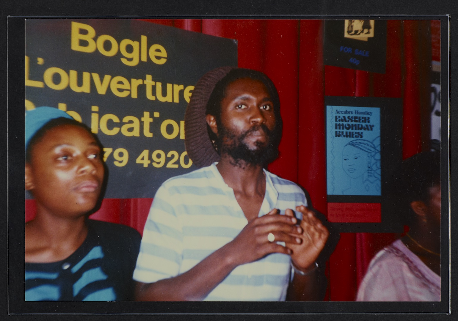 08 L to R - Hazel Sawyers _ Steve Lewis at Bogle-L'Ouverture Publications bookstall. c1980s. Huntley