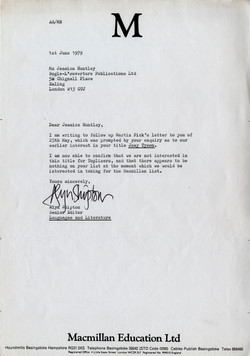 _07 Letter from Macmillan Education to Jessica Huntley re Joey Tyson, 1st June 1979. Huntley Archive