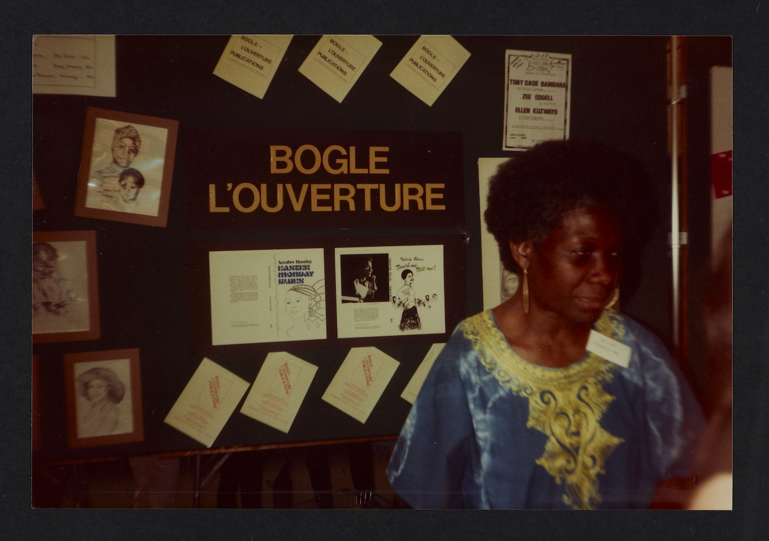 06 Jessica Huntley at Bogle-L'Ouverture Publications bookstall. c1980s. Huntley Archives at London M