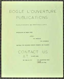 _07 Bogle-L'Ouverture Publications (catalogue). c1970s. Huntley Archives at London Metropolitan Arch