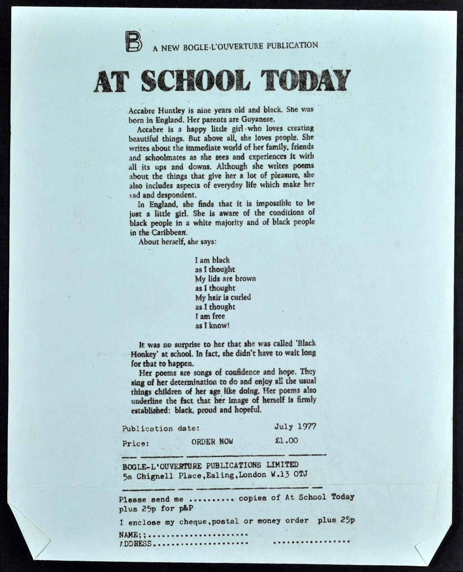 _04 At School Today-Accabre Huntley (publication notice).July 1977. Huntley Archives at London Metro