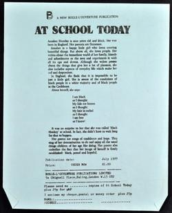 _04 At School Today-Accabre Huntley (publication notice).July 1977. Huntley Archives at London Metro